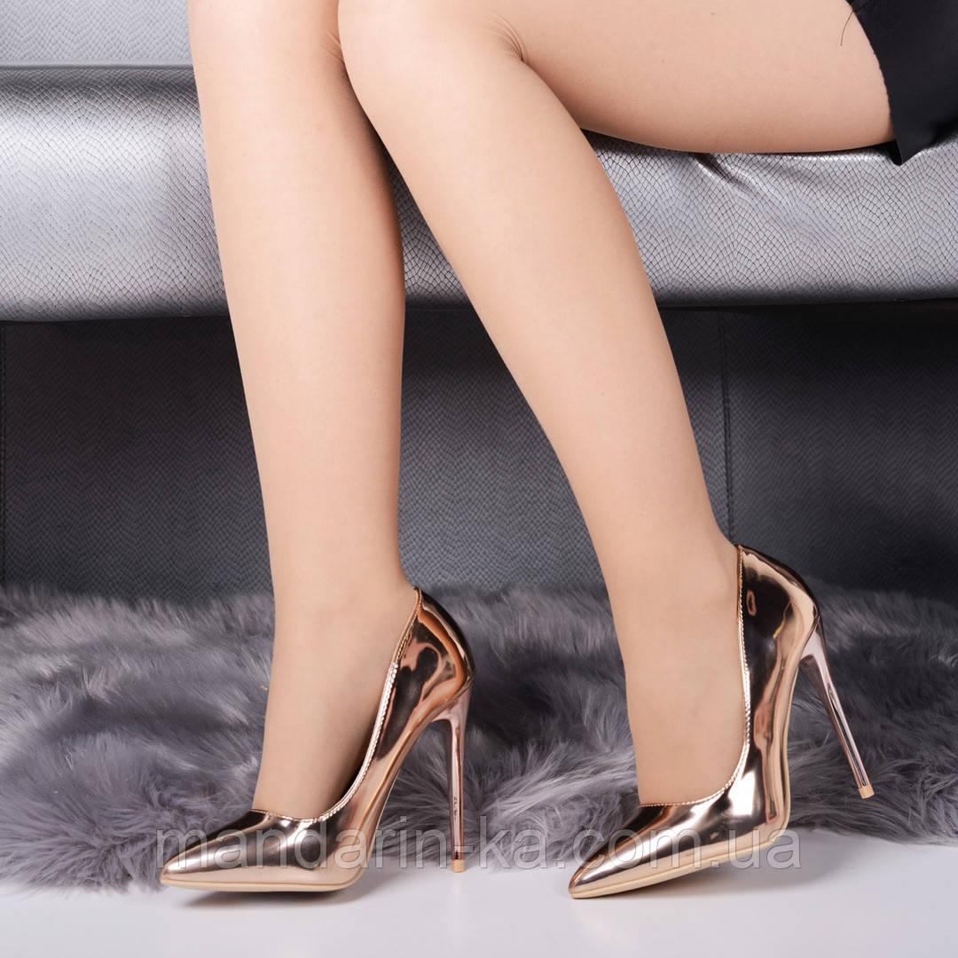 Женские туфли лодочки розовое золото 11,5 см