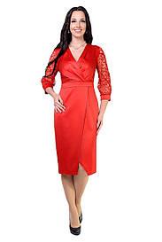 Нарядное платье красного цвета с напылением на рукавах 8512