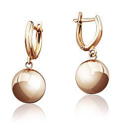 """Золотые серьги без камней """"Сфера"""", красное золото, С0300 Eurogold"""