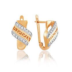 """Золотые серьги с английским замком декорированные цирконами в стиле """"Версаче"""", С0353 edem"""