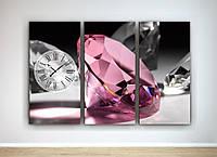 Фотокартина модульная с часами три модуля Розовый бриллиант