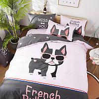 Хлопковое постельное белье Французский бульдог (полуторный)