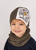 Детская шапка РЕМИ (набор) для мальчиков оптом размер 46-48-50