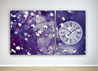 Модульная картина с часовым механизмом Цветы
