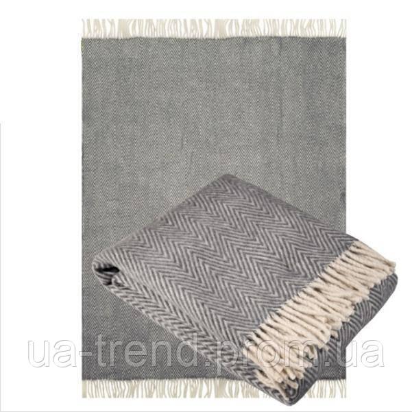 Плед из шерсти мериноса серого цвета 130х180