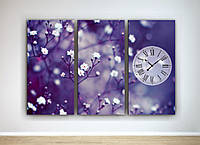 Фотокартина модульная с часами три модуля Цветы