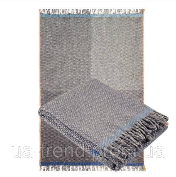 Серый шерстяной плед из 100% шерсти мериноса 140х200