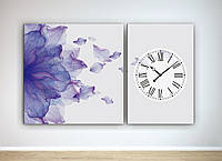 Модульная картина с часовым механизмом Цветок