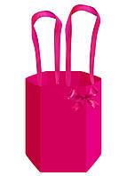 Бумажная сумка для цветов (45 см) шестиугольная, малиновая