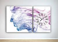 Модульная картина с часовым механизмом Абстракция