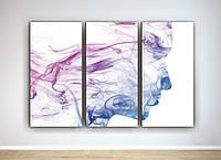 Абстрактная картина в интерьер Силуэт Лицо Дым Спокойный цвет Нежный оттенок 90х60 из 3-х частей