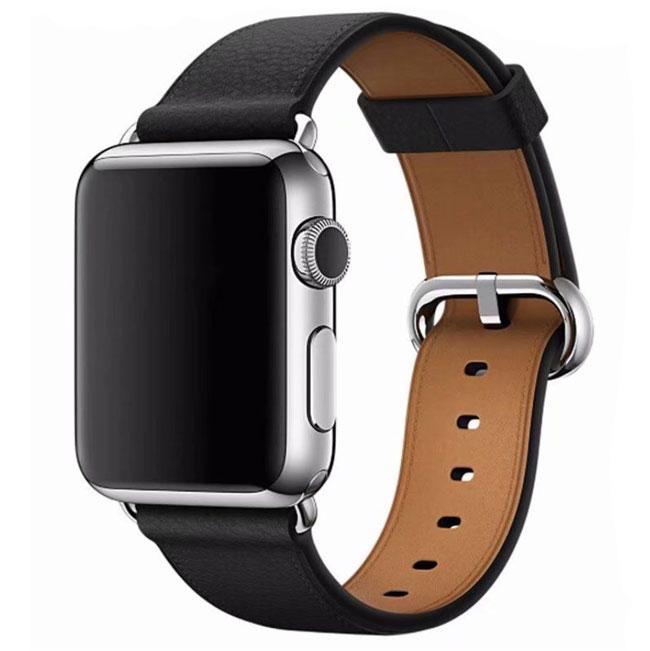 Кожаный ремешок Primo Bent Buckle для Apple Watch 38mm / 40mm - Black