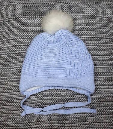 Шапка детская  на мальчика зима с натуральными помпонами голубого цвета Elf kids (Польша) размер 44 46, фото 2