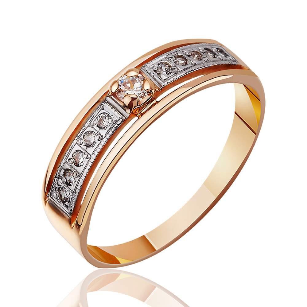 Кольцо золотое венчальное с цирконами и вставкой из белого золота , КД032 Eurogold