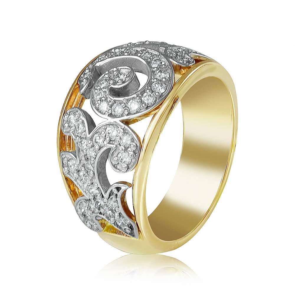 """Кольцо  с цирконами """"Истина"""", комбинированное золото, КД0503/2 Eurogold"""