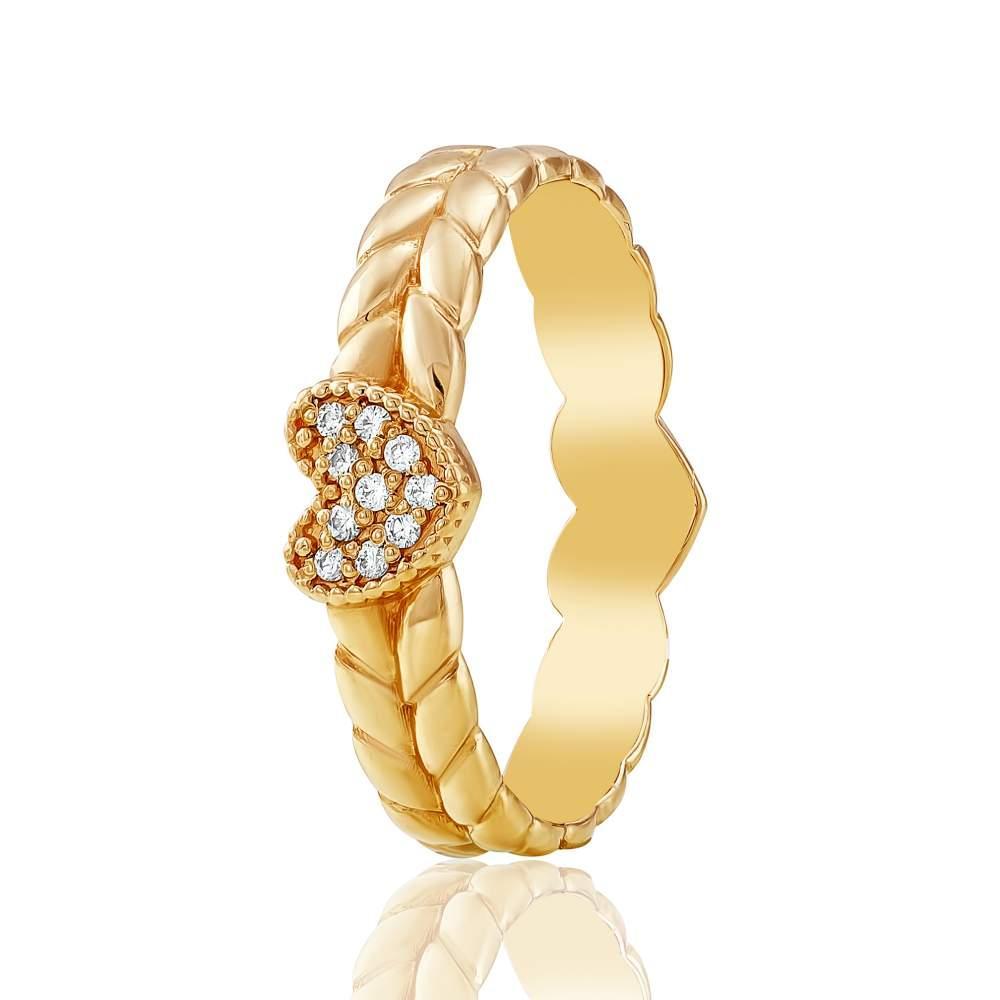 """Золотое кольцо с цирконами """"Испанская корона"""", красное золото, КД0505 Eurogold"""