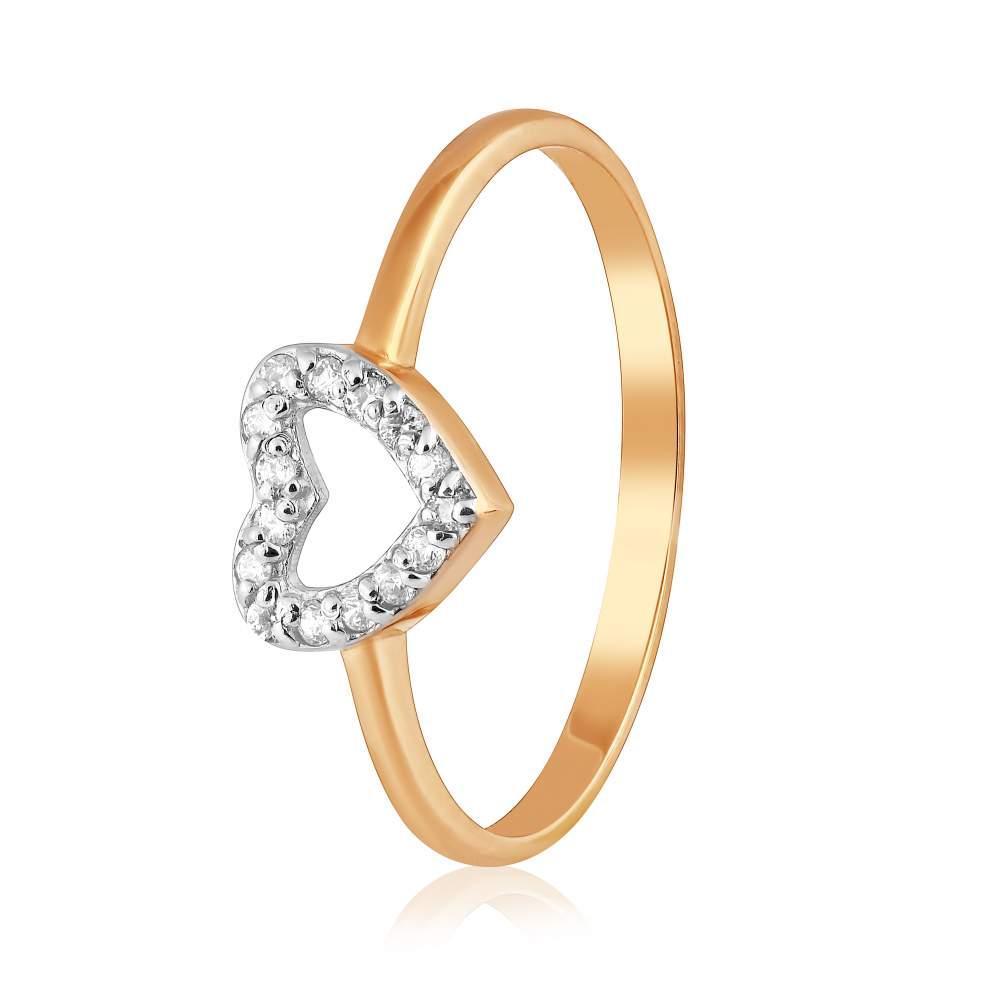 """Кольцо  с цирконами """"Сердце"""", комбинированное золото, КД0516 Eurogold"""