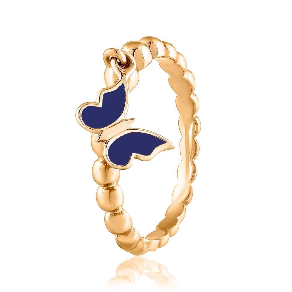 """Золотое кольцом с подвеской """"Бабочка"""", КД0524СБ Eurogold"""