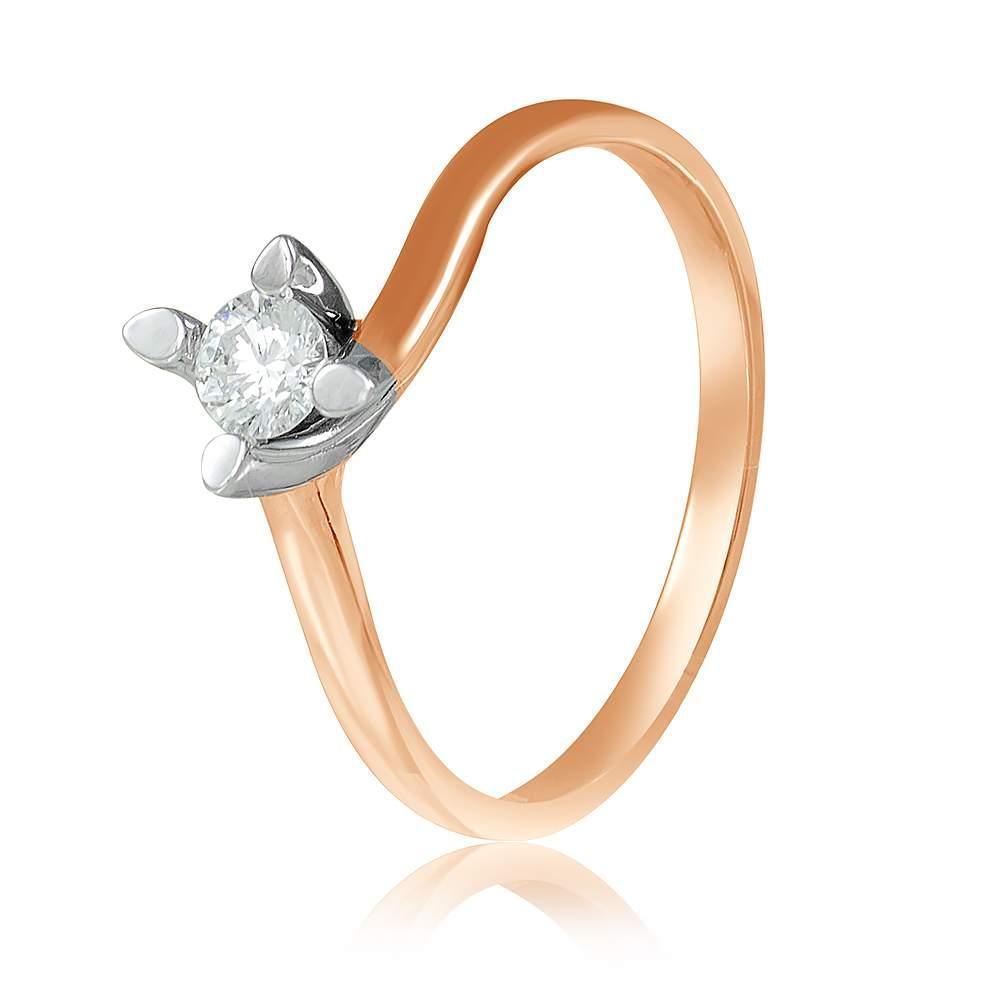 """Кольцо с камнем SWAROVSKI Zirconia """"Большинство"""", комбинированное золото, КД4161SW Eurogold"""