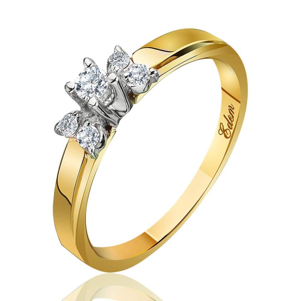 """Кольцо из желтого золота с бриллиантами """"Мания величия"""", КД7420/2 Eurogold"""