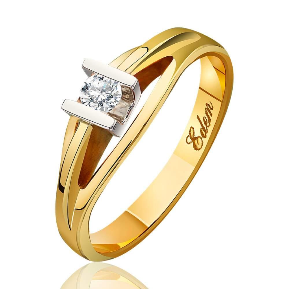 """Кольцо  с бриллиантом """"Объект желания"""", комбинированное золото, КД7444/2 Eurogold"""