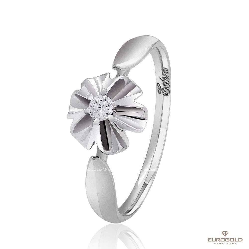 """Кольцо из белого золота с бриллиантом """"Орхидея"""", КД7496/1 Eurogold"""