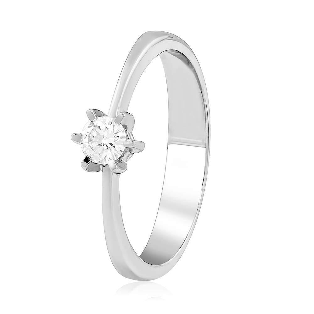 "Кольцо из белого золота с бриллиантом ""Скандинавия"", КД7517/1 Eurogold"
