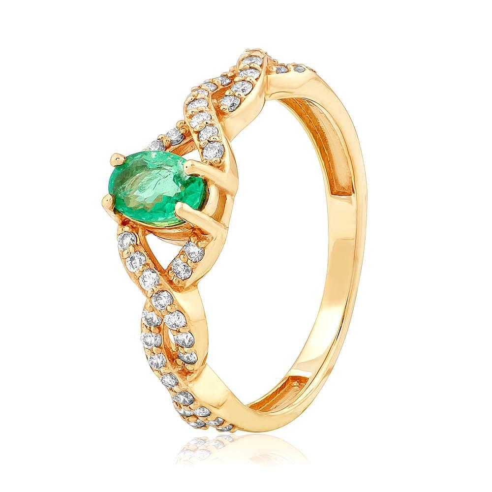 """Золотое кольцо с изумрудом и бриллиантами """"Марианна"""", КД7530СМАРАГД Eurogold"""