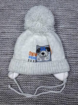 Шапка детская  на мальчика зима серого цвета MAGROF (Польша) размер 40 42 , фото 2