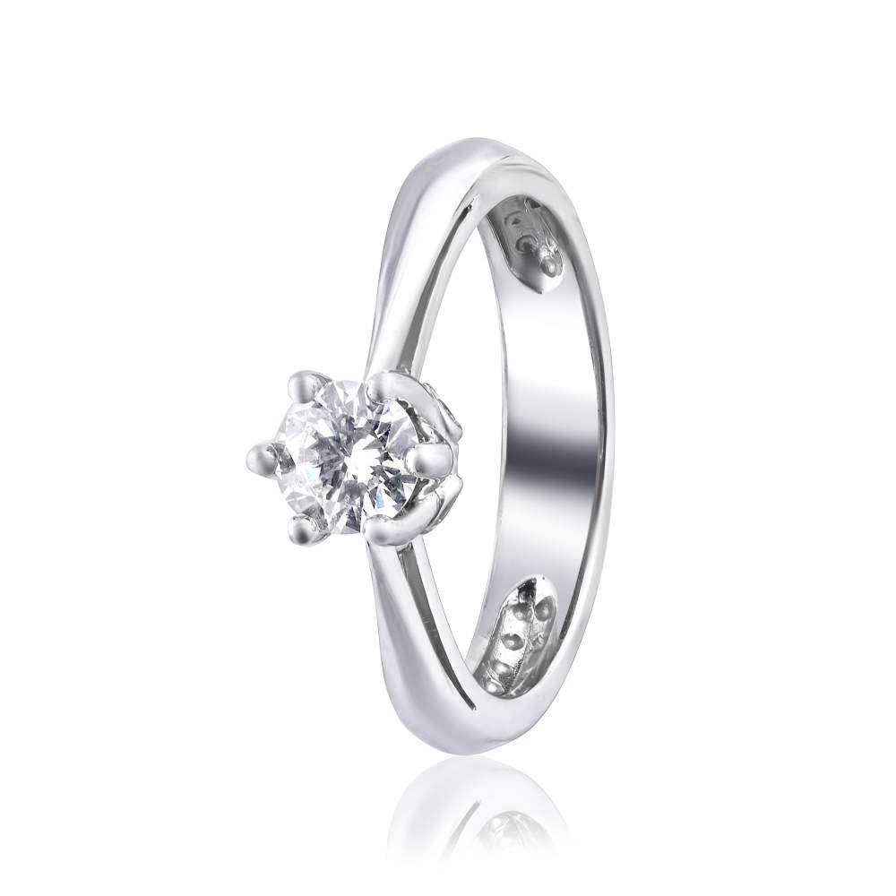 """Кольцо  с бриллиантом """"Бланш"""", белое золото, КД7571/1 Eurogold"""