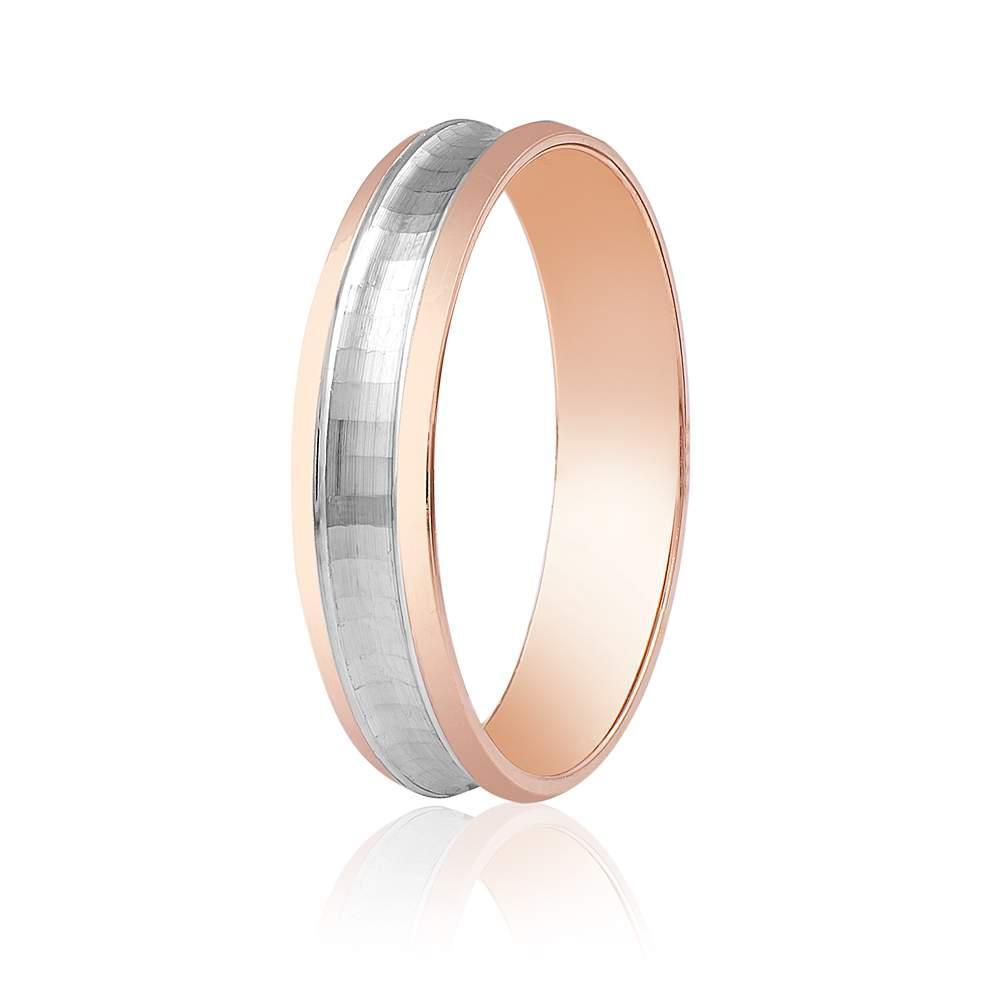 элегантноеОбручальное кольцо с канавкой, комбинированное золото, КОА005 Eurogold