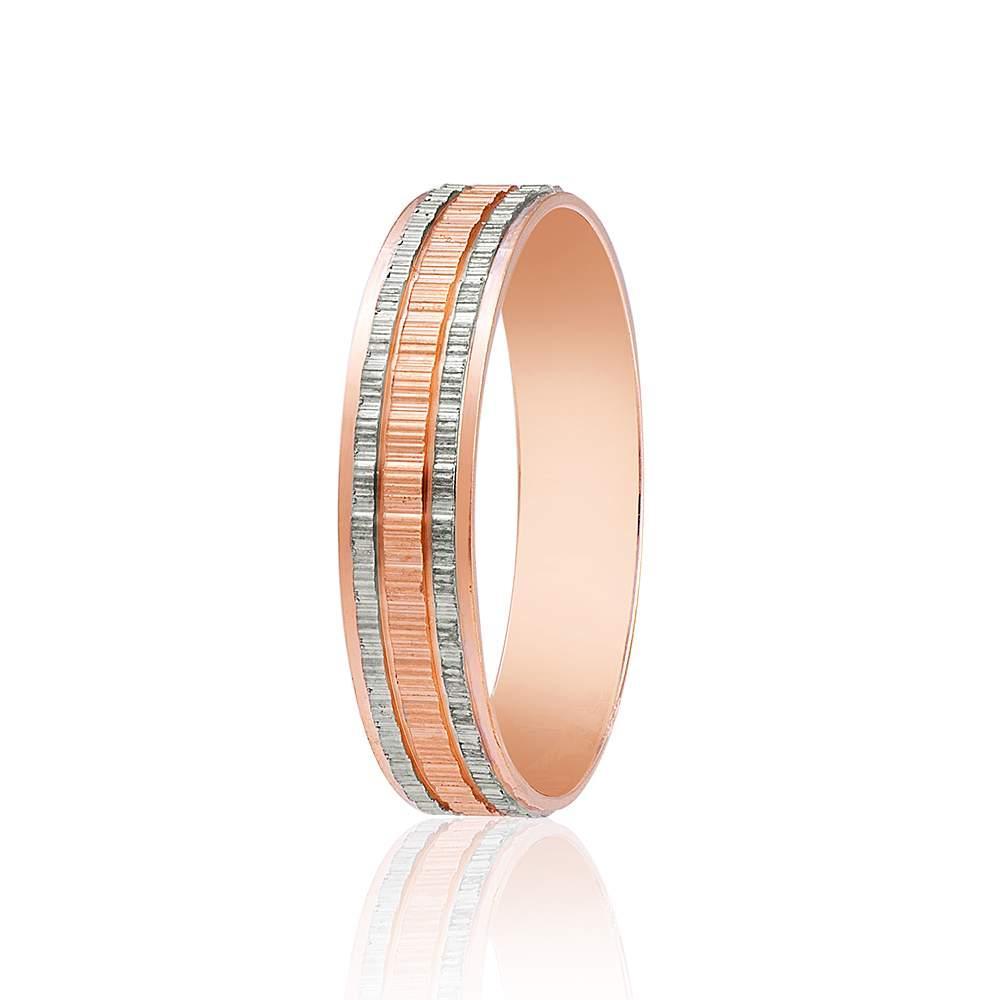 Обручальное кольцо, протекторное, комбинированное золото, КОА006 Eurogold