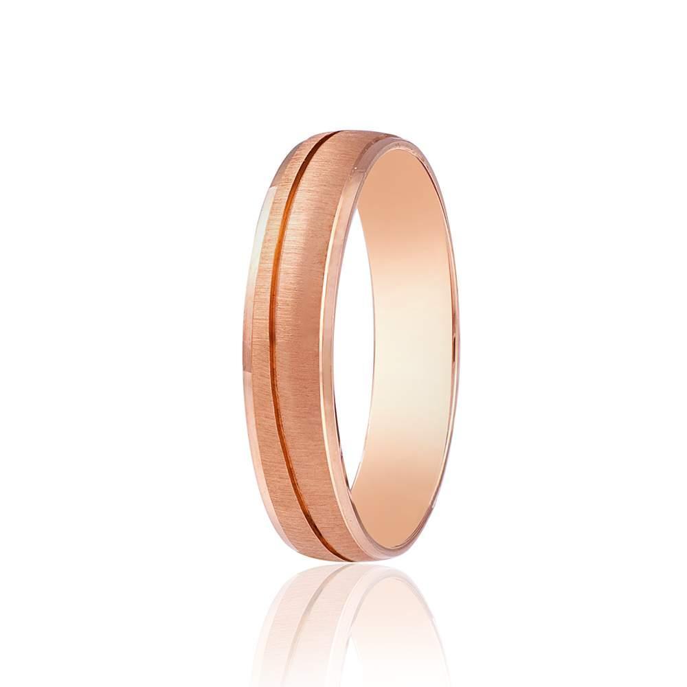 Золотое обручальное кольцо с диагональным сечением, КОА011 Eurogold