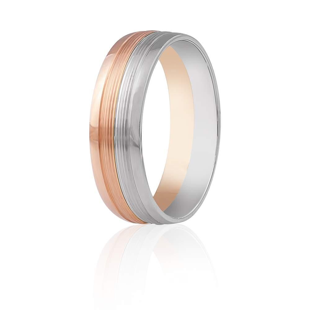 Золотое обручальное кольцо, симметричный орнамент в виде полос, комбинированное, КОА019 Eurogold