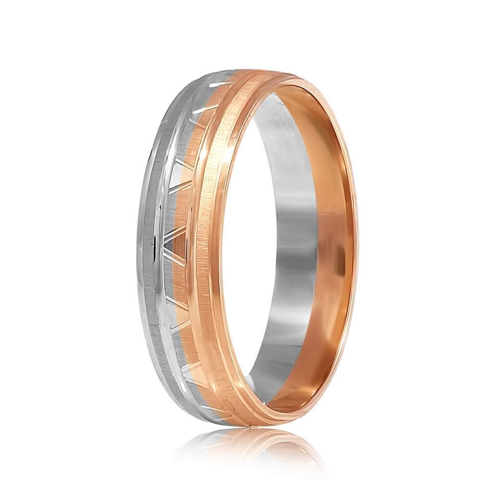 """Обручальное кольцо с алмазной гранью """"Пара"""", комбинированное золото, КОА022 Eurogold"""