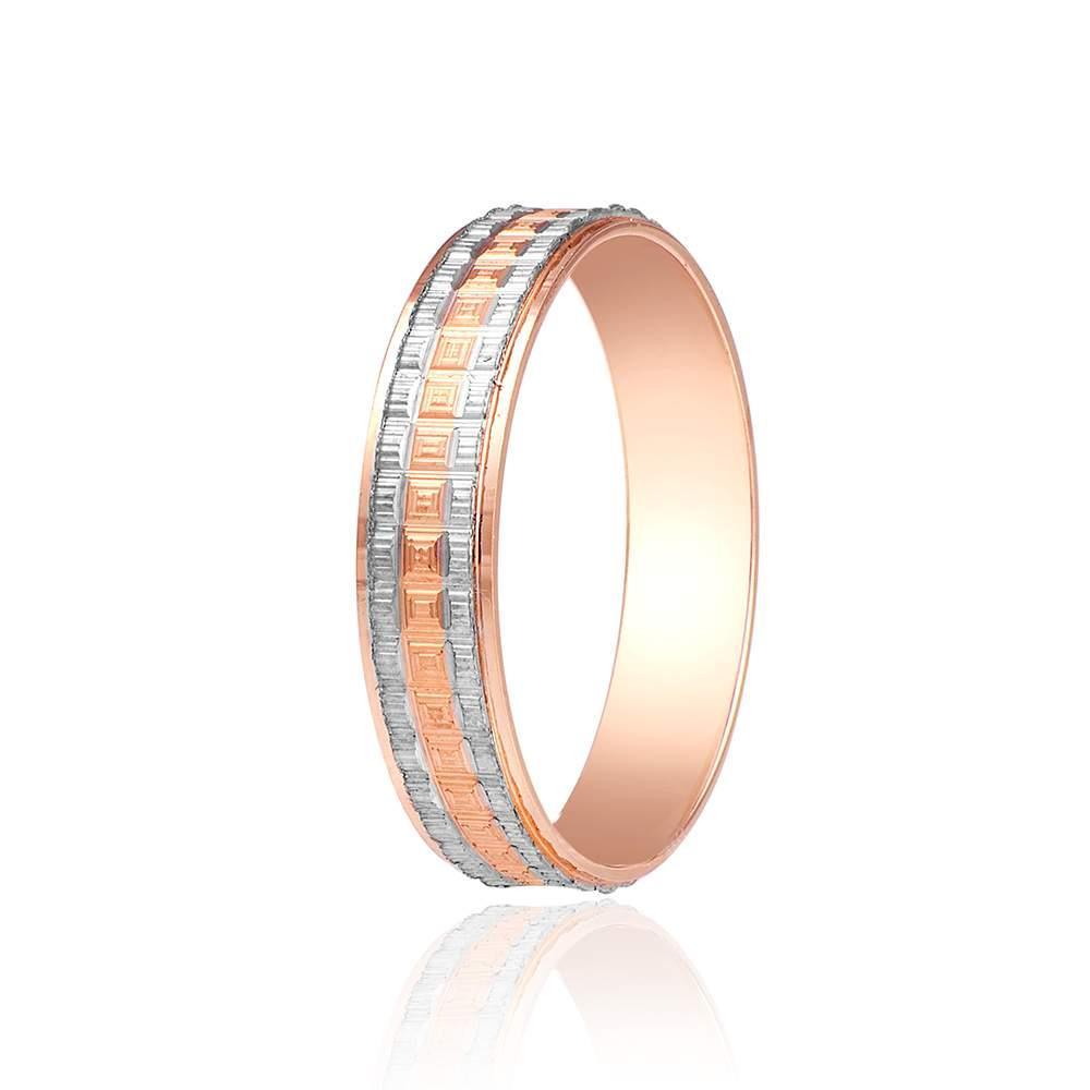 Обручальное кольцо, квадратный орнамент, комбинированное, КОА026 Eurogold