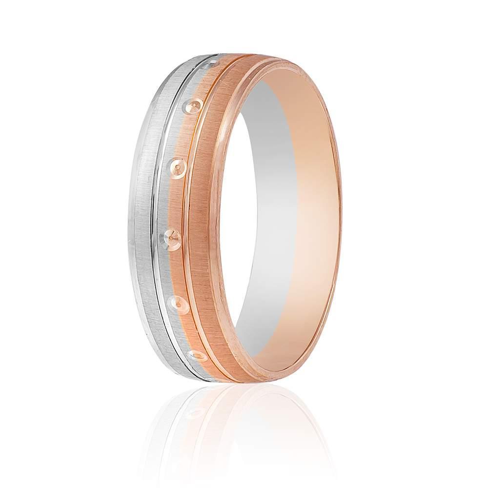 """Обручальное кольцо """"Романтика"""", комбинированное золото, КОА056 Eurogold"""