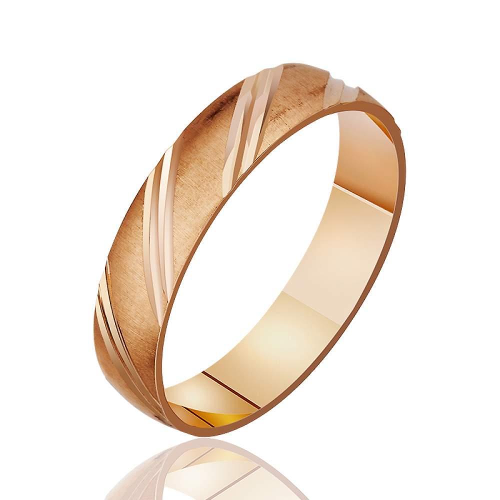 Золотое обручальное кольцо с диагональными насечками, КОА057 Eurogold