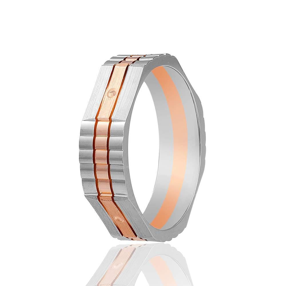 Золотое обручальное кольцо, комбинированное золото, КОА066 Eurogold