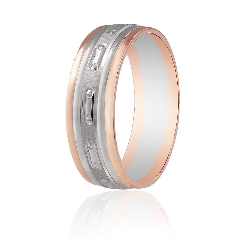 Золотое обручальное кольцо комбинированое, КОА069 Eurogold