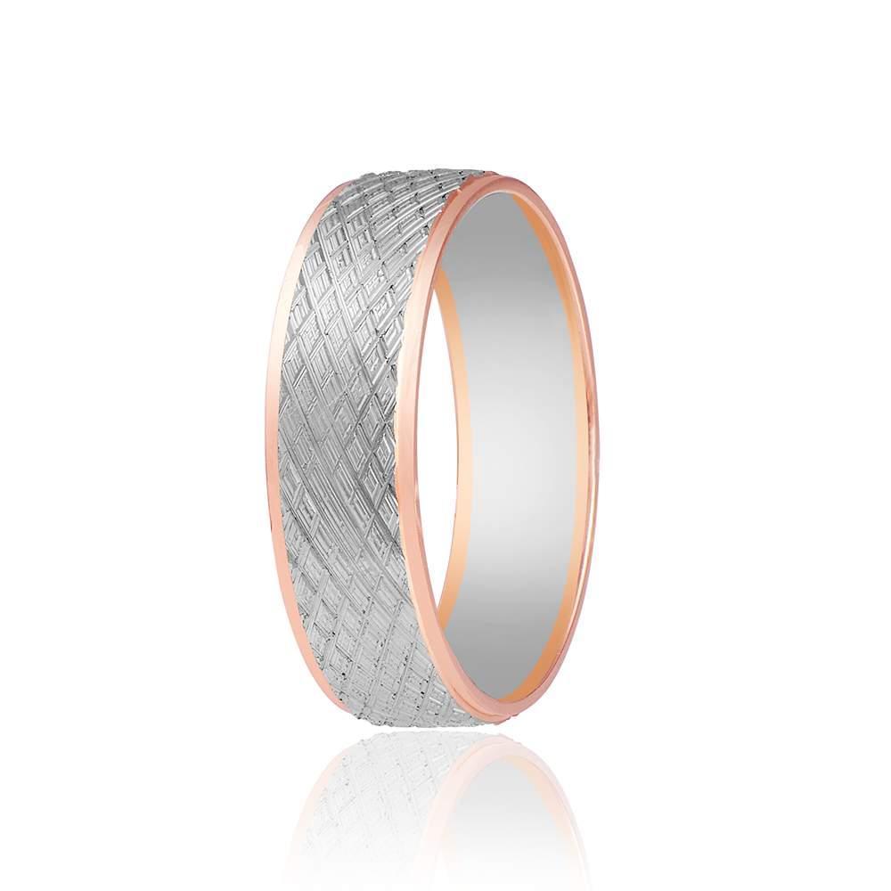 Обручальное кольцо протекторное, комбинированное золото, КОА072 Eurogold