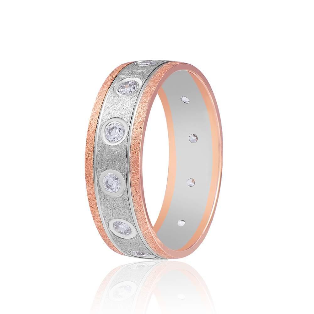 """Золотое обручальное кольцо, выполнено в технике """"сатинирование"""", КОА083 Eurogold"""