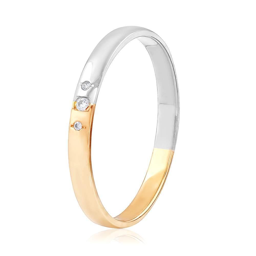 Обручальное кольцо с цирконами, комбинированное золото, КОА085 Eurogold