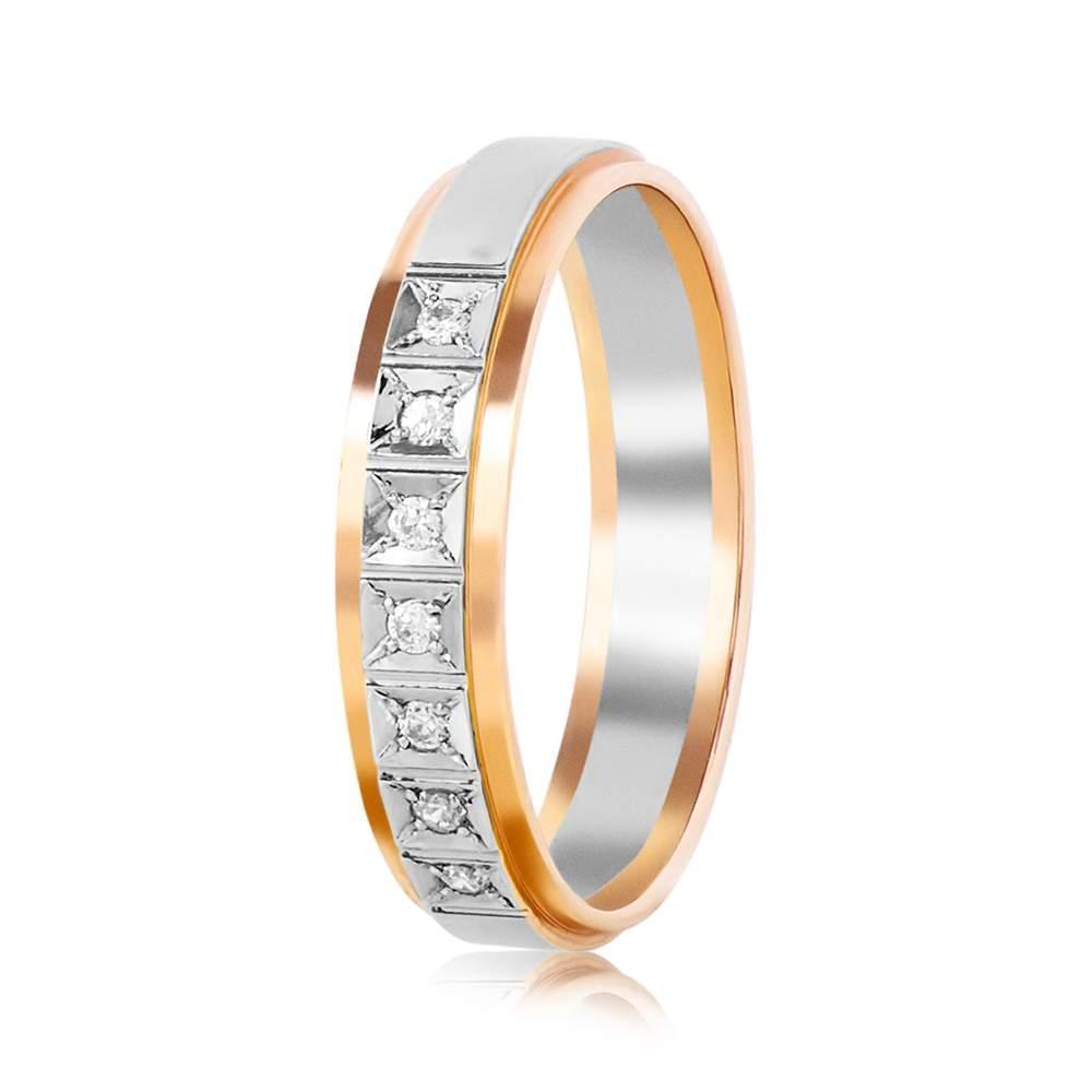 Обручальное кольцо с цирконами, комбинированное золото, КОА109 Eurogold