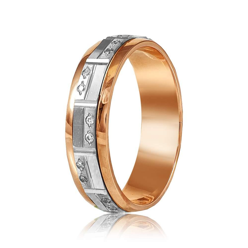 Обручальное кольцо с цирконами, комбинированное золото, КОА119 Eurogold