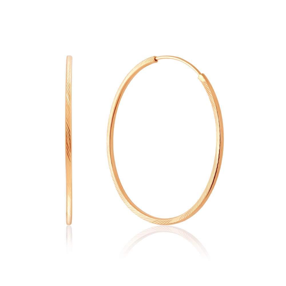 Серьги-кольца золотые без вставок, С001/1 Eurogold