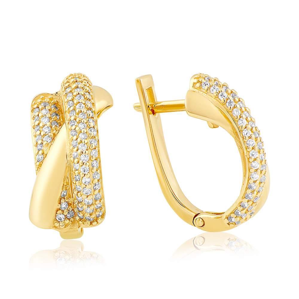 """Золотые серьги с цирконами """"Даль"""", желтое золото, С2050/2 Eurogold"""