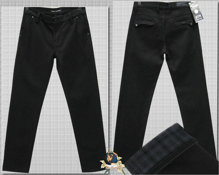 Джинсы мужские утеплённые классические Stravt тёмно-коричневые 34 размер