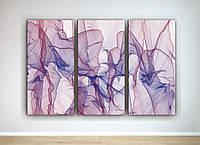 Абстрактная картина для спальни Спокойный цвет Нежные оттенки Плавные линии 90х60 из 3-х частей
