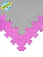 """Мягкий пол коврик-пазл """"Радуга"""" Eva-Line 200*150 см Плетенка (12 пазлов) Розовый-серый"""